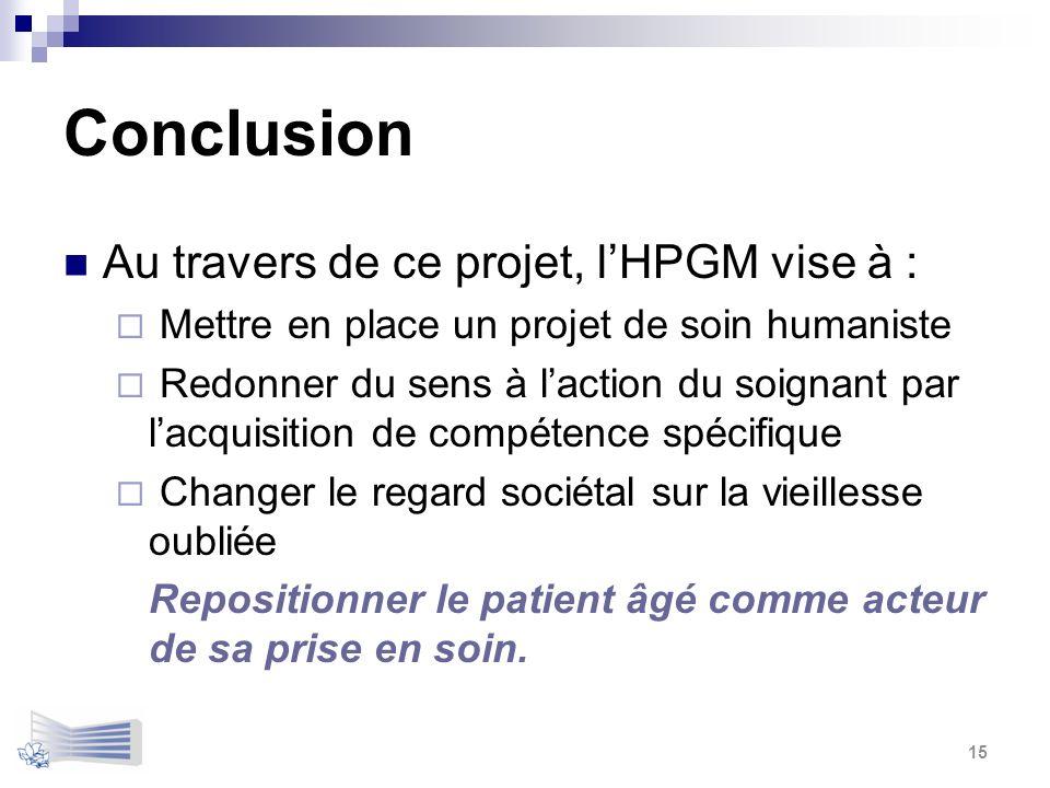 Conclusion Au travers de ce projet, lHPGM vise à : Mettre en place un projet de soin humaniste Redonner du sens à laction du soignant par lacquisition