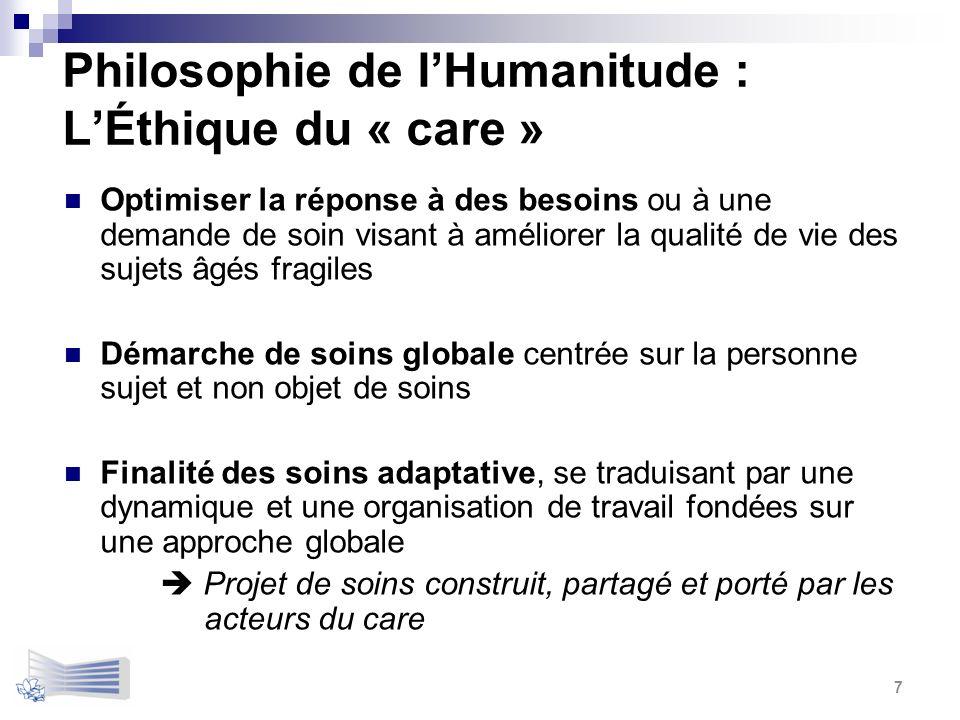Philosophie de lHumanitude : LÉthique du « care » Optimiser la réponse à des besoins ou à une demande de soin visant à améliorer la qualité de vie des