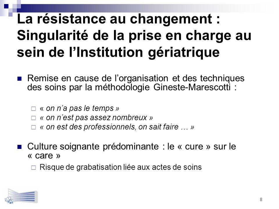 La résistance au changement : Singularité de la prise en charge au sein de lInstitution gériatrique Remise en cause de lorganisation et des techniques