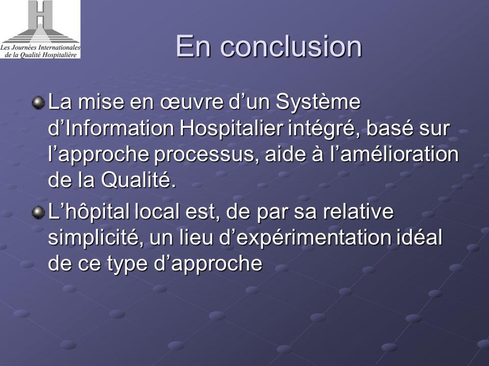 En conclusion La mise en œuvre dun Système dInformation Hospitalier intégré, basé sur lapproche processus, aide à lamélioration de la Qualité. Lhôpita