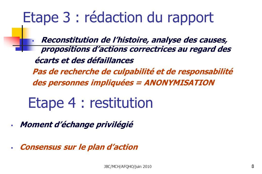 8 Etape 3 : rédaction du rapport Reconstitution de lhistoire, analyse des causes, propositions dactions correctrices au regard des écarts et des défai