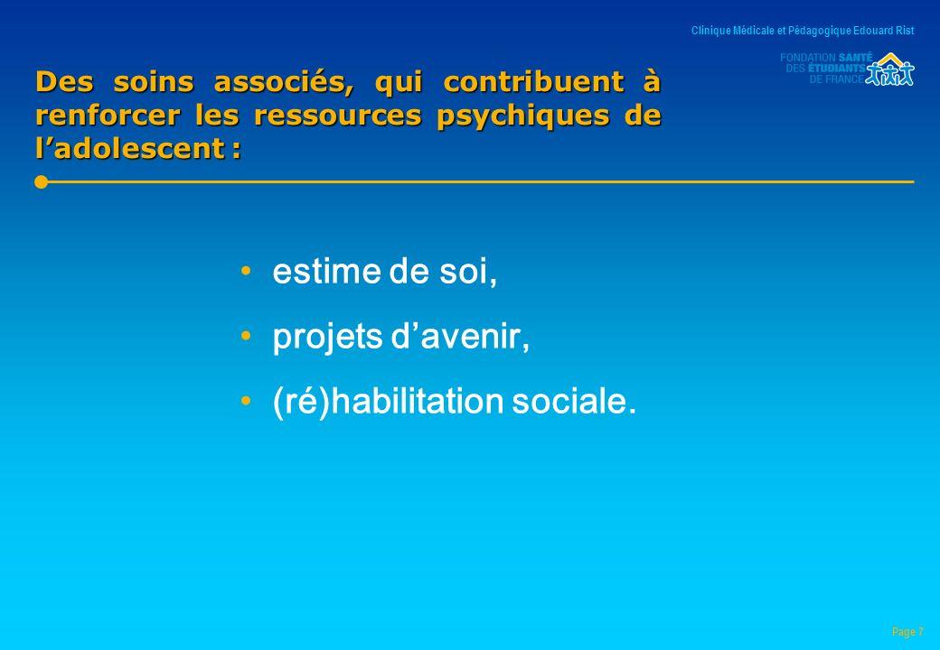Des soins associés, qui contribuent à renforcer les ressources psychiques de ladolescent : estime de soi, projets davenir, (ré)habilitation sociale.