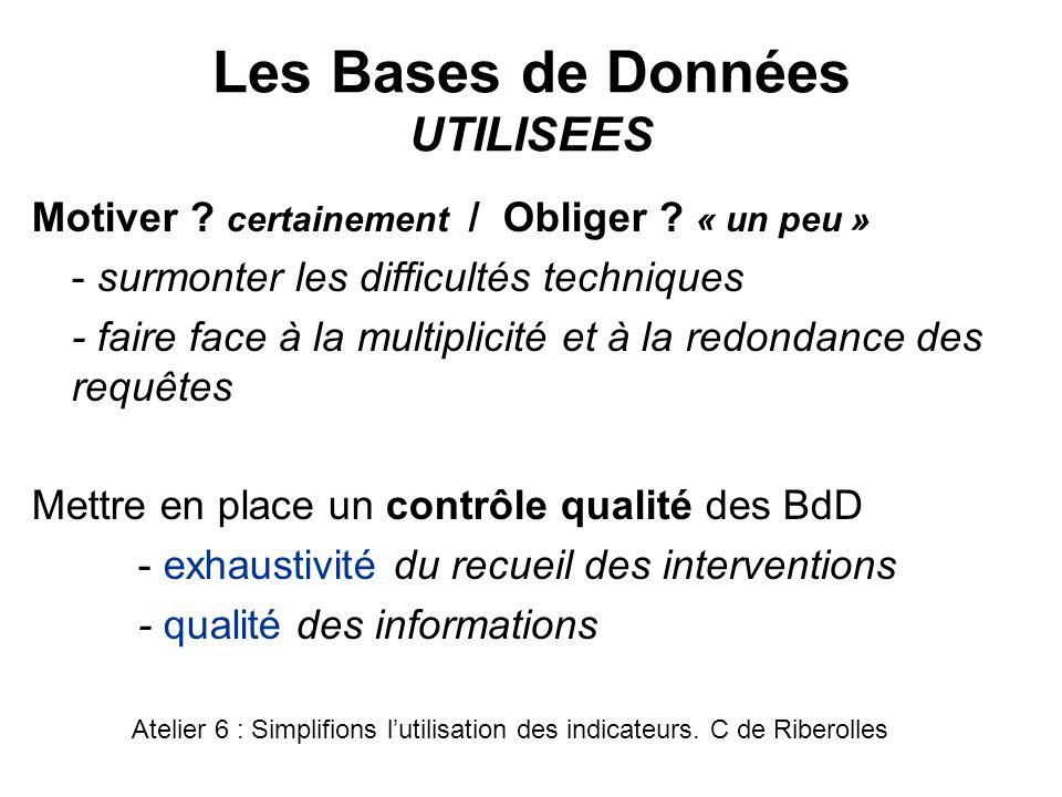 Les Bases de Données UTILISEES Motiver ? certainement / Obliger ? « un peu » - surmonter les difficultés techniques - faire face à la multiplicité et