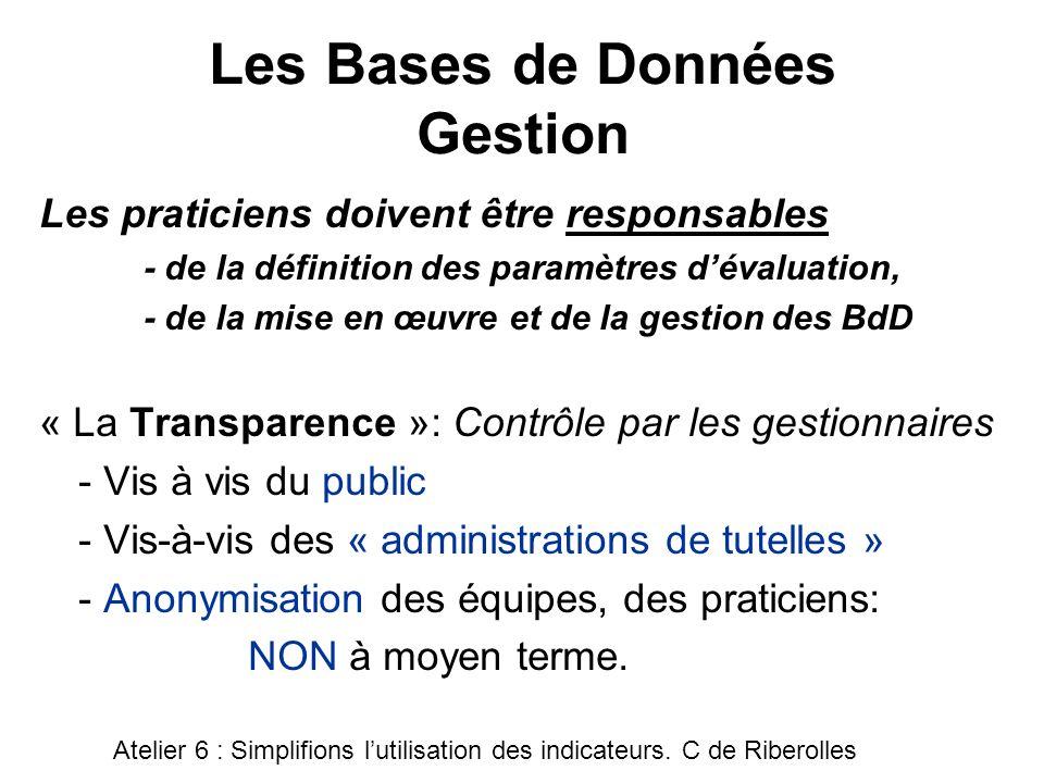 Les Bases de Données Gestion Les praticiens doivent être responsables - de la définition des paramètres dévaluation, - de la mise en œuvre et de la ge