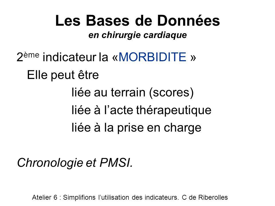 Les Bases de Données en chirurgie cardiaque 2 ème indicateur la «MORBIDITE » Elle peut être liée au terrain (scores) liée à lacte thérapeutique liée à