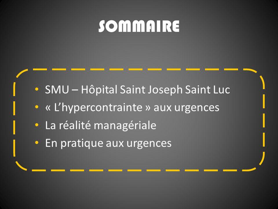 SOMMAIRE SMU – Hôpital Saint Joseph Saint Luc « Lhypercontrainte » aux urgences La réalité managériale En pratique aux urgences