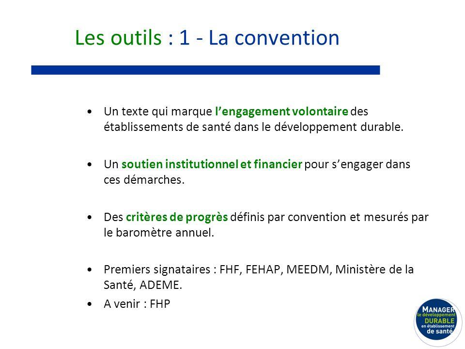 Les outils : 1 - La convention Un texte qui marque lengagement volontaire des établissements de santé dans le développement durable.