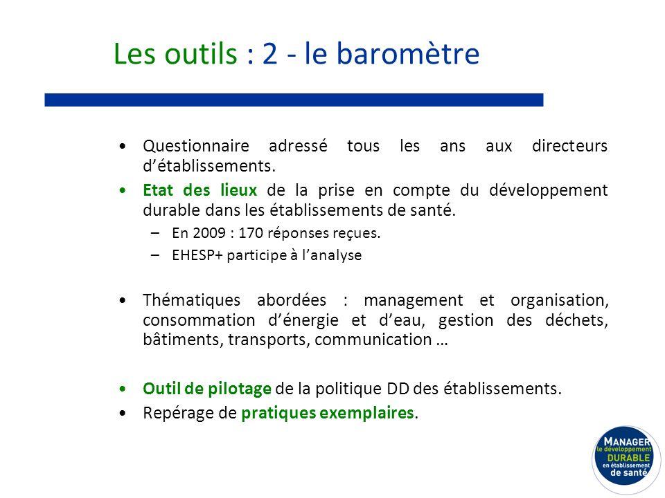 Les outils : 2 - le baromètre Questionnaire adressé tous les ans aux directeurs détablissements.