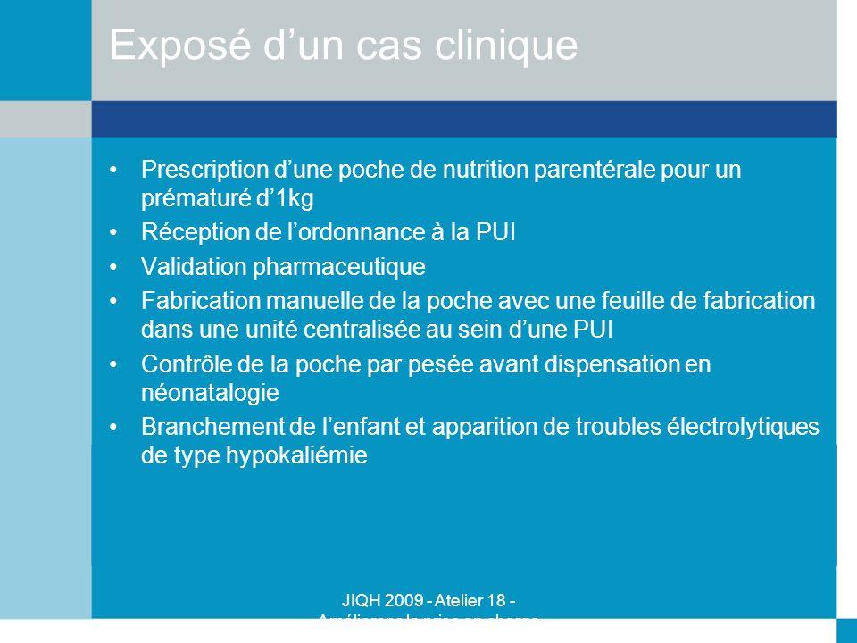 JIQH 2009 - Atelier 18 - Améliorons la prise en charge médicamenteuse - Majid Talla - Kujas Paule Exposé dun cas clinique Prescription dune poche de n