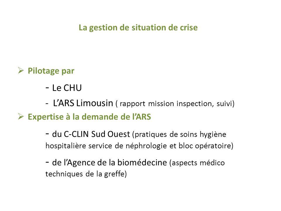 La gestion de situation de crise Pilotage par - Le CHU - LARS Limousin ( rapport mission inspection, suivi) Expertise à la demande de lARS - du C-CLIN Sud Ouest (pratiques de soins hygiène hospitalière service de néphrologie et bloc opératoire) - de lAgence de la biomédecine (aspects médico techniques de la greffe)