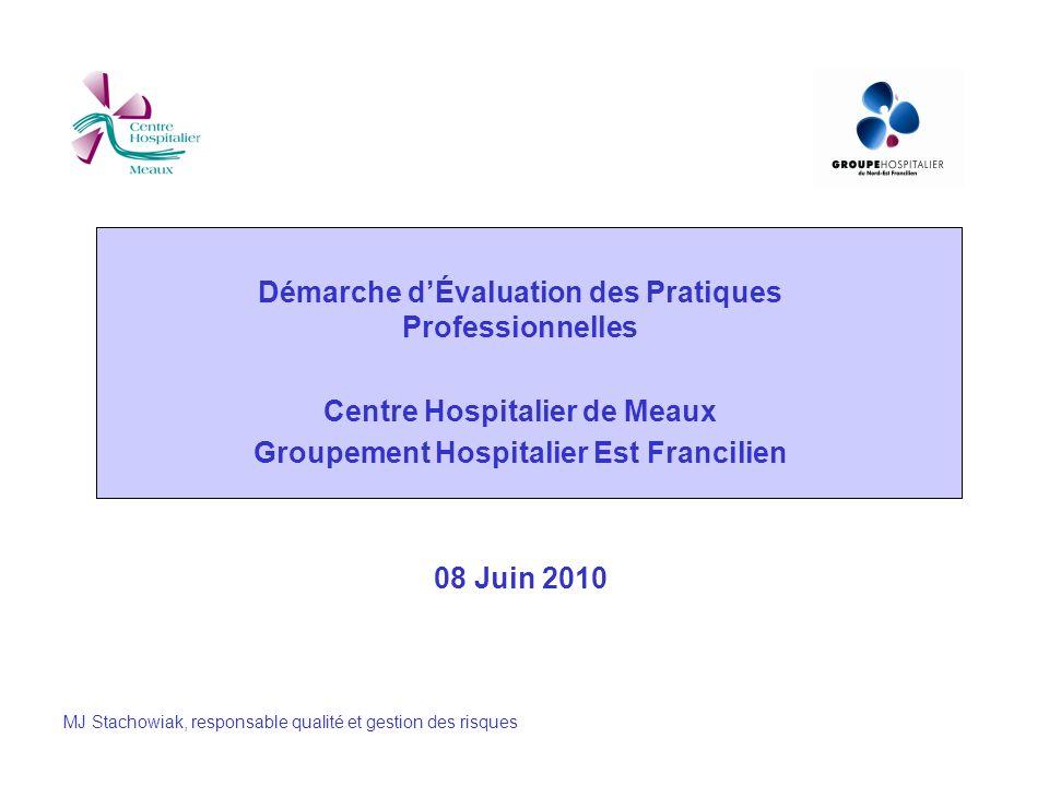 Démarche dÉvaluation des Pratiques Professionnelles Centre Hospitalier de Meaux Groupement Hospitalier Est Francilien 08 Juin 2010 MJ Stachowiak, resp
