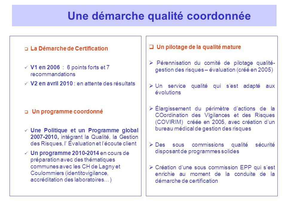 La Démarche de Certification V1 en 2006 : 6 points forts et 7 recommandations V2 en avril 2010 : en attente des résultats Un programme coordonné Une P