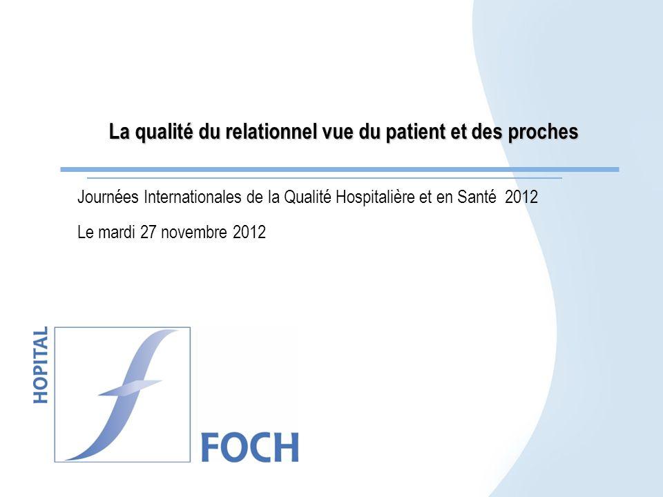 La qualité du relationnel vue du patient et des proches Journées Internationales de la Qualité Hospitalière et en Santé 2012 Le mardi 27 novembre 2012