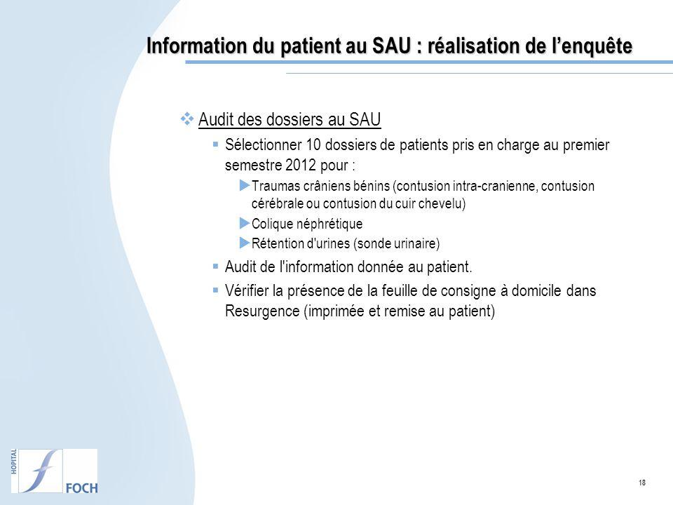 18 Information du patient au SAU : réalisation de lenquête Audit des dossiers au SAU Sélectionner 10 dossiers de patients pris en charge au premier se