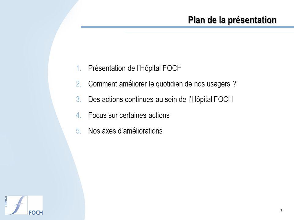 3 Plan de la présentation 1.Présentation de lHôpital FOCH 2.Comment améliorer le quotidien de nos usagers ? 3.Des actions continues au sein de lHôpita