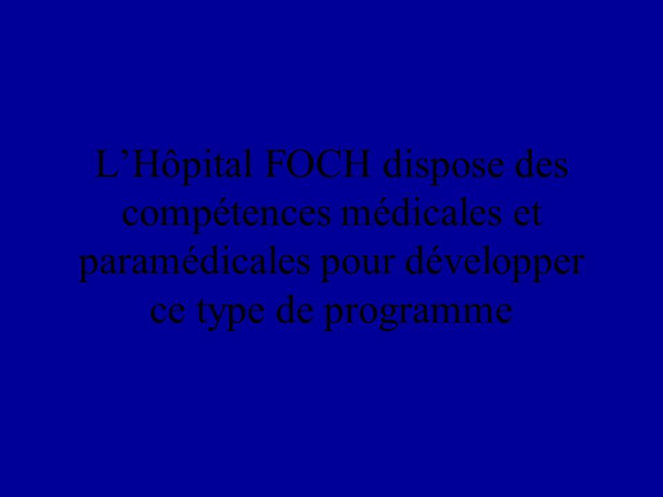 LHôpital FOCH dispose des compétences médicales et paramédicales pour développer ce type de programme