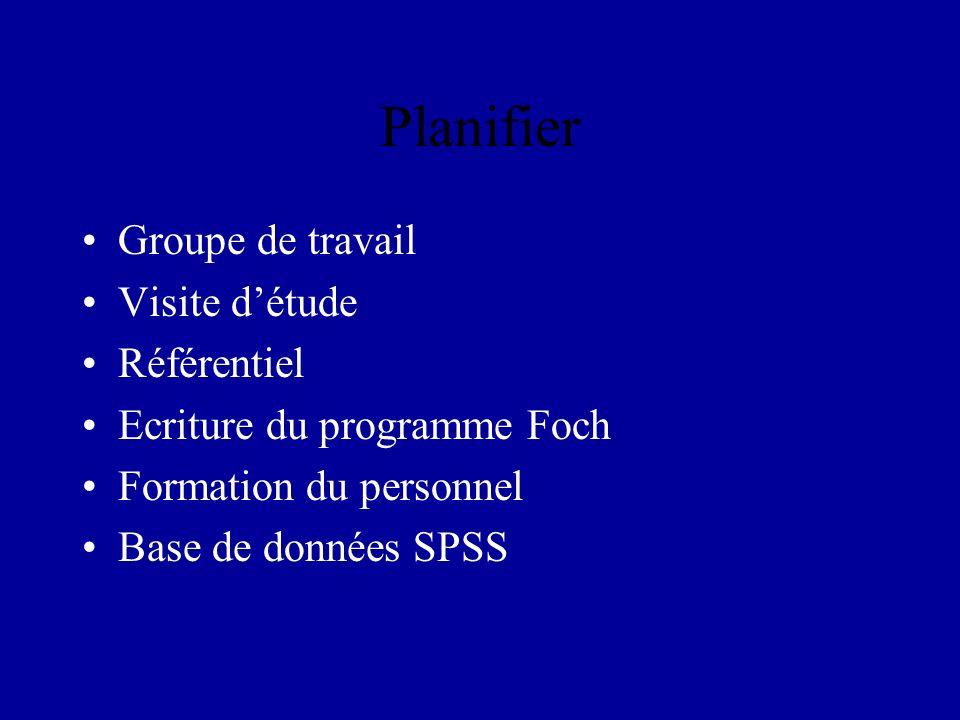 Planifier Groupe de travail Visite détude Référentiel Ecriture du programme Foch Formation du personnel Base de données SPSS