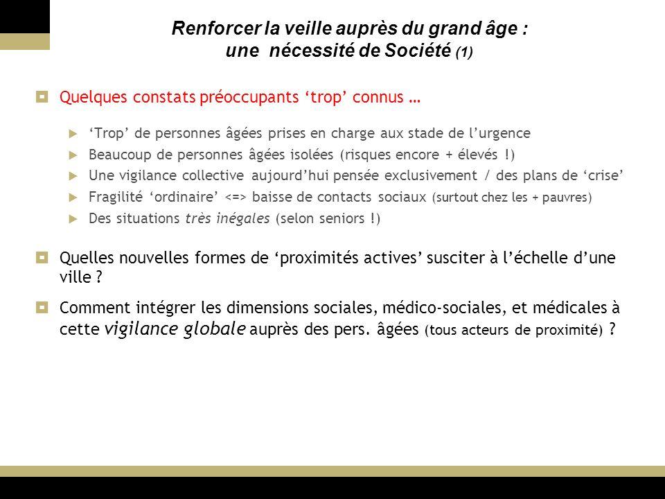 3 Renforcer la veille auprès du grand âge : une nécessité de Société (2) de chiffres éloquents (si besoin) : Espérances de vie à 60 ans (France) = 86 ans 1/2 (F) / 81 ans 1/2 (H) + env.