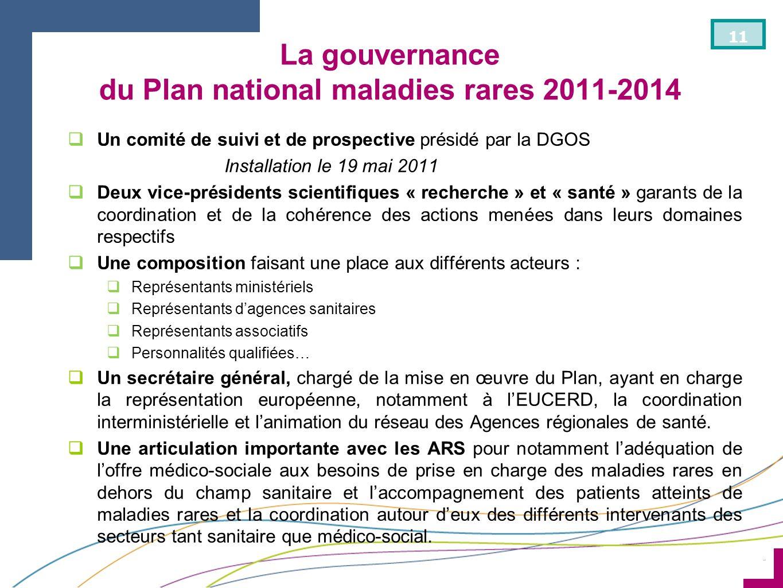 ¨ 11 La gouvernance du Plan national maladies rares 2011-2014 Un comité de suivi et de prospective présidé par la DGOS Installation le 19 mai 2011 Deu