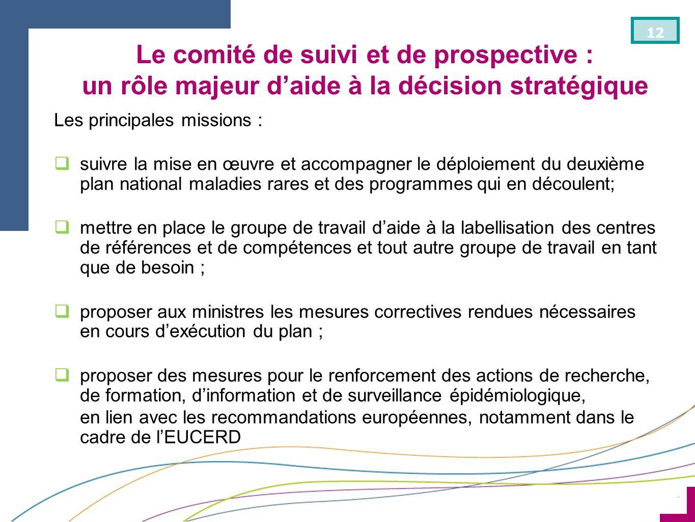 ¨ 12 Le comité de suivi et de prospective : un rôle majeur daide à la décision stratégique Les principales missions : suivre la mise en œuvre et accom