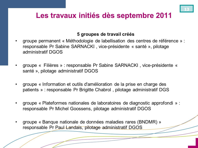 ¨ 13 Les travaux initiés dès septembre 2011 5 groupes de travail créés groupe permanent « Méthodologie de labellisation des centres de référence » : r