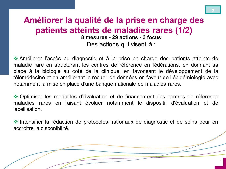 ¨ 7 8 mesures - 29 actions - 3 focus Des actions qui visent à : Améliorer laccès au diagnostic et à la prise en charge des patients atteints de maladi