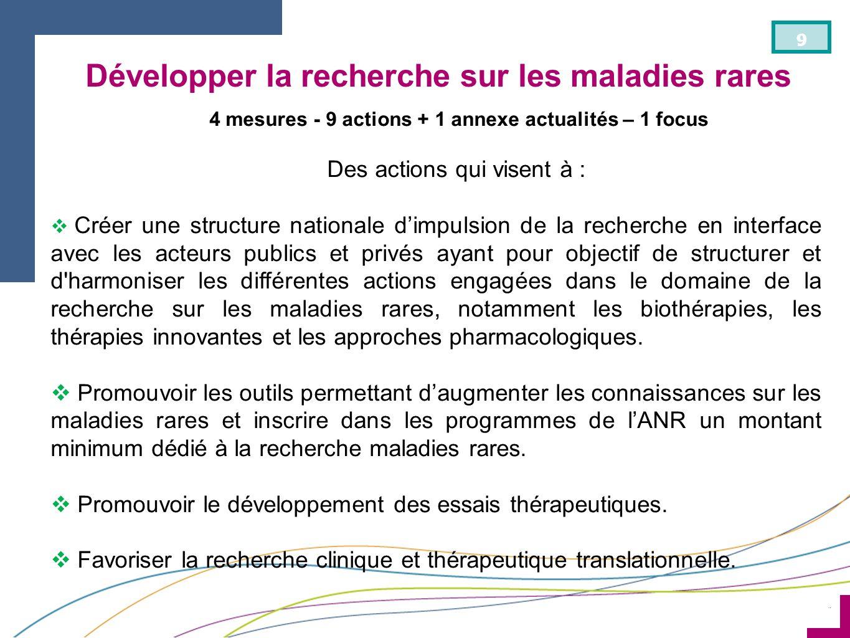 ¨ 9 4 mesures - 9 actions + 1 annexe actualités – 1 focus Des actions qui visent à : Créer une structure nationale dimpulsion de la recherche en inter