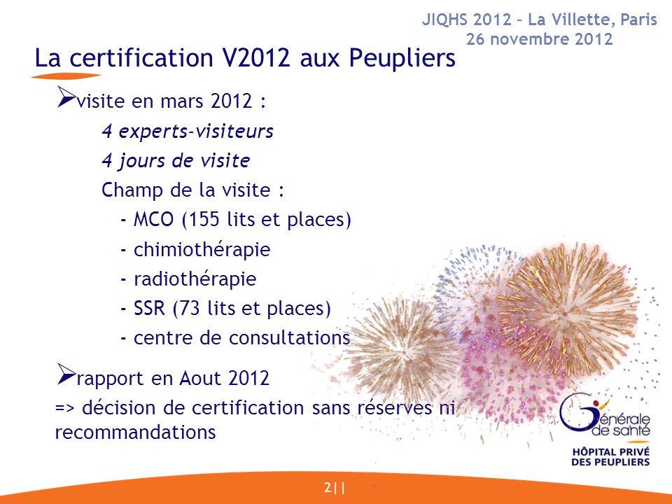 La certification V2012 aux Peupliers 2|| visite en mars 2012 : 4 experts-visiteurs 4 jours de visite Champ de la visite : - MCO (155 lits et places) - chimiothérapie - radiothérapie - SSR (73 lits et places) - centre de consultations rapport en Aout 2012 => décision de certification sans réserves ni recommandations JIQHS 2012 – La Villette, Paris 26 novembre 2012