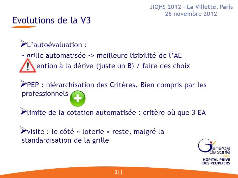 Evolutions de la V3 3|| Lautoévaluation : - grille automatisée -> meilleure lisibilité de lAE - attention à la dérive (juste un B) / faire des choix PEP : hiérarchisation des Critères.