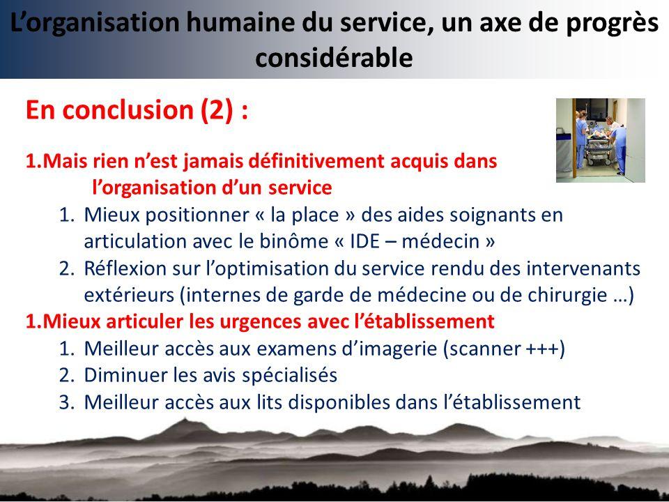 Lorganisation humaine du service, un axe de progrès considérable En conclusion (2) : 1.Mais rien nest jamais définitivement acquis dans lorganisation