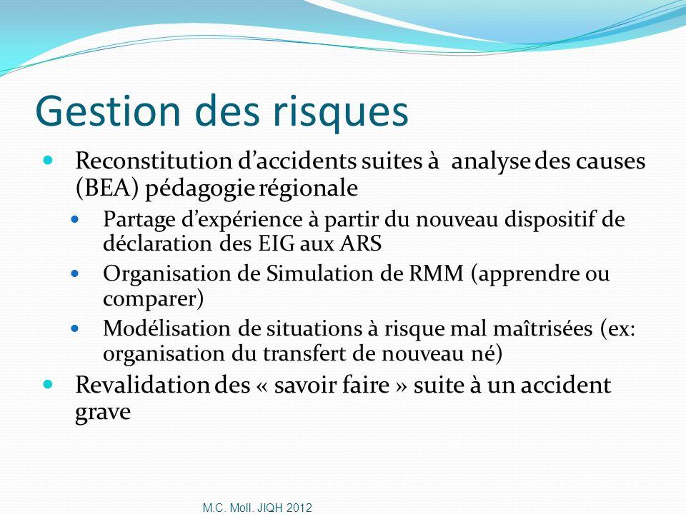 M.C. Moll. JIQH 2012 Gestion des risques Reconstitution daccidents suites à analyse des causes (BEA) pédagogie régionale Partage dexpérience à partir