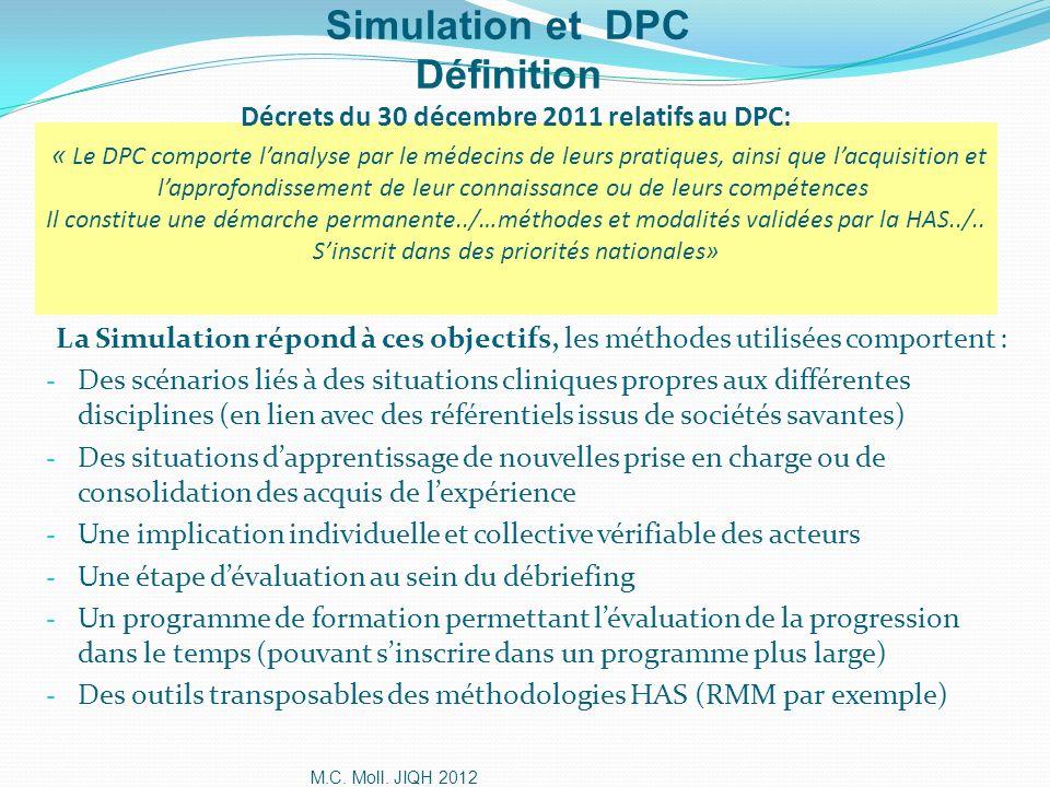 M.C. Moll. JIQH 2012 Décrets du 30 décembre 2011 relatifs au DPC: « Le DPC comporte lanalyse par le médecins de leurs pratiques, ainsi que lacquisitio