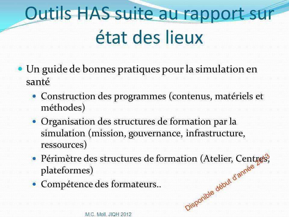 M.C. Moll. JIQH 2012 Outils HAS suite au rapport sur état des lieux Un guide de bonnes pratiques pour la simulation en santé Construction des programm