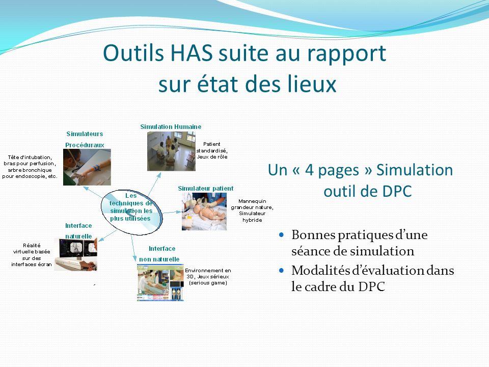 Outils HAS suite au rapport sur état des lieux Un « 4 pages » Simulation outil de DPC Bonnes pratiques dune séance de simulation Modalités dévaluation