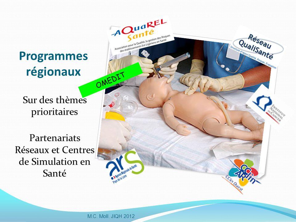 Programmes régionaux Sur des thèmes prioritaires Partenariats Réseaux et Centres de Simulation en Santé M.C. Moll. JIQH 2012 OMEDIT