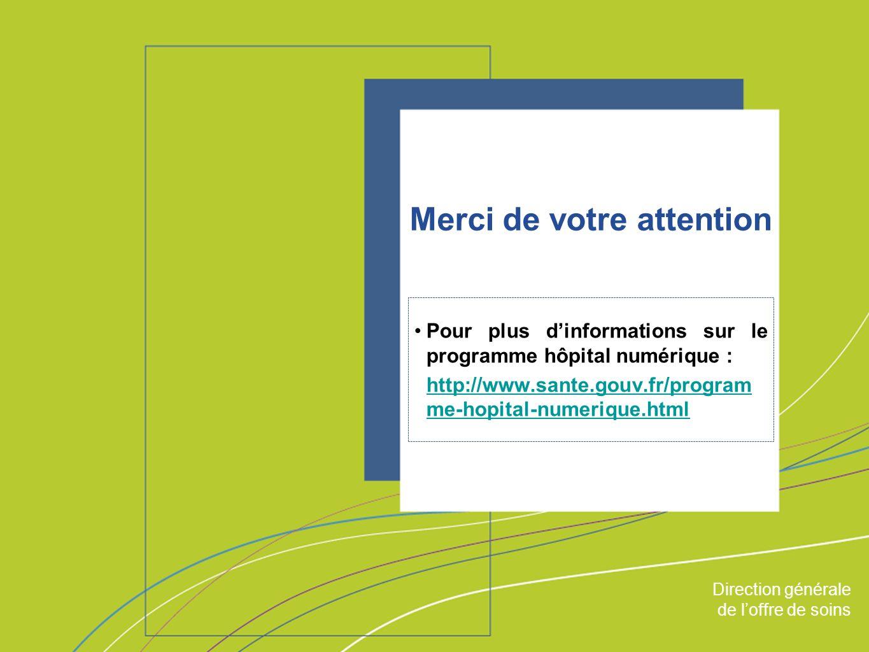 Direction générale de loffre de soin ORGANISATION & MISSIONS Direction générale de loffre de soins Merci de votre attention Pour plus dinformations sur le programme hôpital numérique : http://www.sante.gouv.fr/program me-hopital-numerique.html