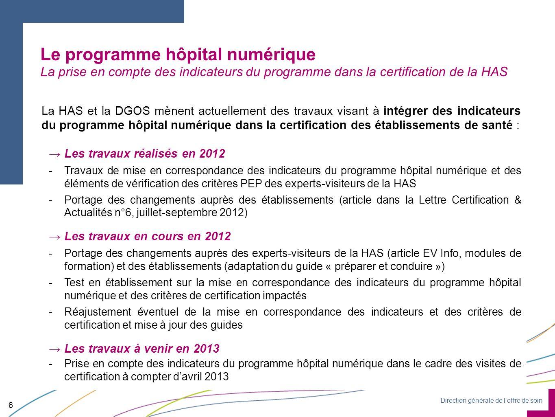 Direction générale de loffre de soin Le programme hôpital numérique La prise en compte des indicateurs du programme dans la certification de la HAS 6