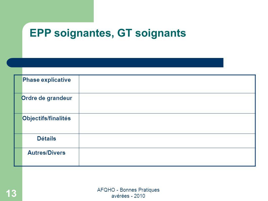 AFQHO - Bonnes Pratiques avérées - 2010 13 EPP soignantes, GT soignants Phase explicative Ordre de grandeur Objectifs/finalités Détails Autres/Divers