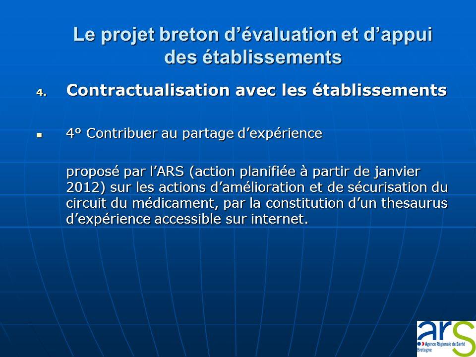Le projet breton dévaluation et dappui des établissements 4. Contractualisation avec les établissements 4° Contribuer au partage dexpérience 4° Contri