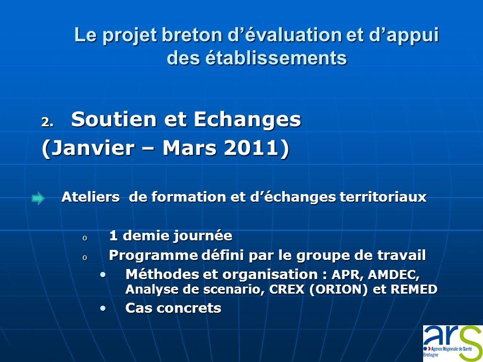 Le projet breton dévaluation et dappui des établissements 2. Soutien et Echanges (Janvier – Mars 2011) Ateliers de formation et déchanges territoriaux