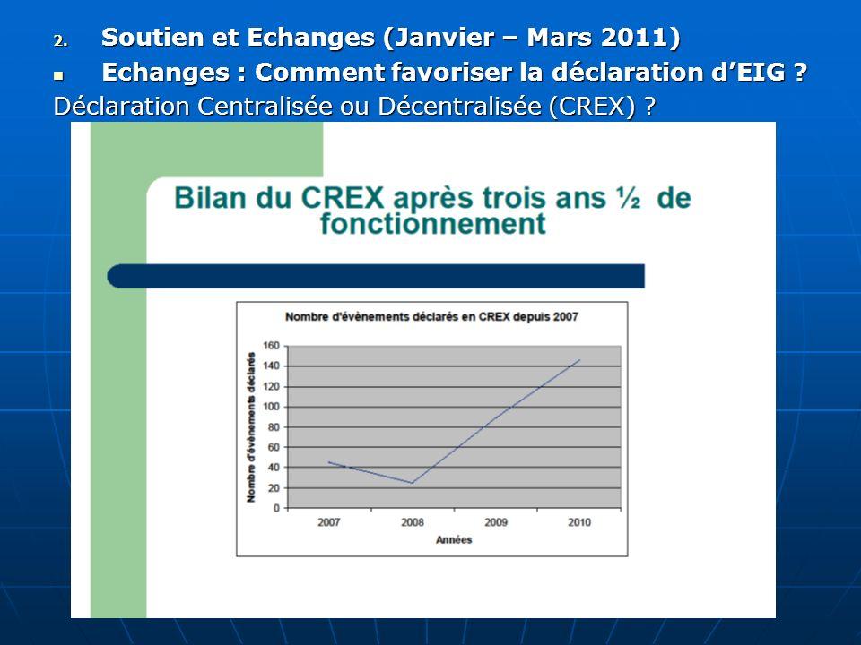 2. Soutien et Echanges (Janvier – Mars 2011) Echanges : Comment favoriser la déclaration dEIG ? Echanges : Comment favoriser la déclaration dEIG ? Déc
