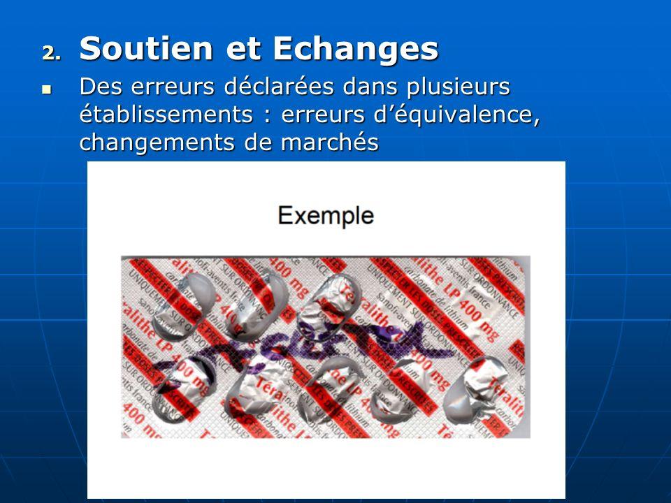 2. Soutien et Echanges Des erreurs déclarées dans plusieurs établissements : erreurs déquivalence, changements de marchés Des erreurs déclarées dans p