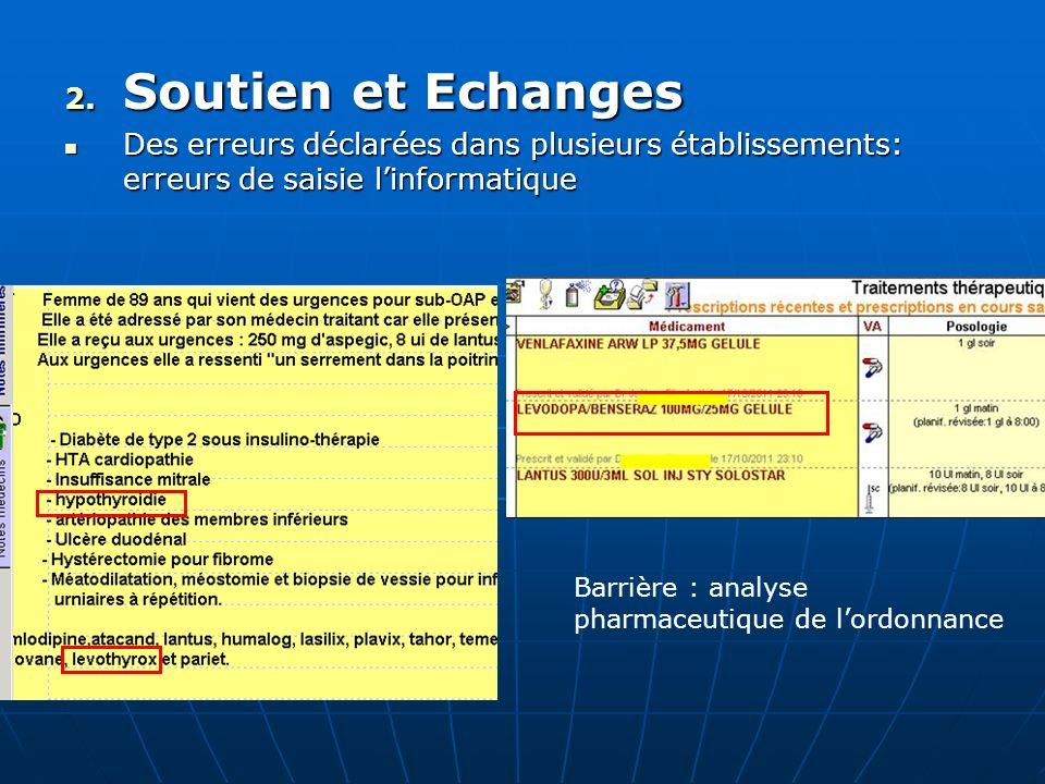 2. Soutien et Echanges Des erreurs déclarées dans plusieurs établissements: erreurs de saisie linformatique Des erreurs déclarées dans plusieurs établ
