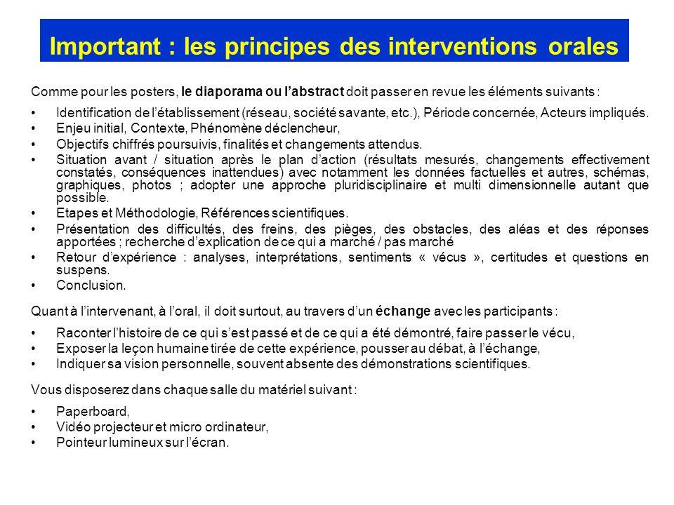 Important : les principes des interventions orales Comme pour les posters, le diaporama ou labstract doit passer en revue les éléments suivants : Iden