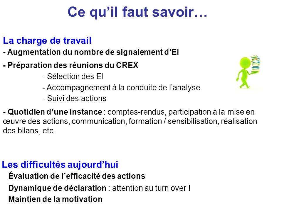 La charge de travail - Augmentation du nombre de signalement dEI - Préparation des réunions du CREX - Quotidien dune instance : comptes-rendus, partic