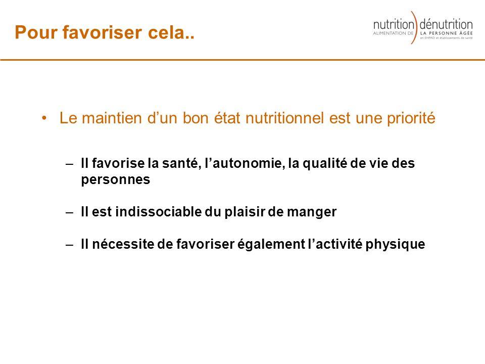 Le maintien dun bon état nutritionnel est une priorité –Il favorise la santé, lautonomie, la qualité de vie des personnes –Il est indissociable du pla