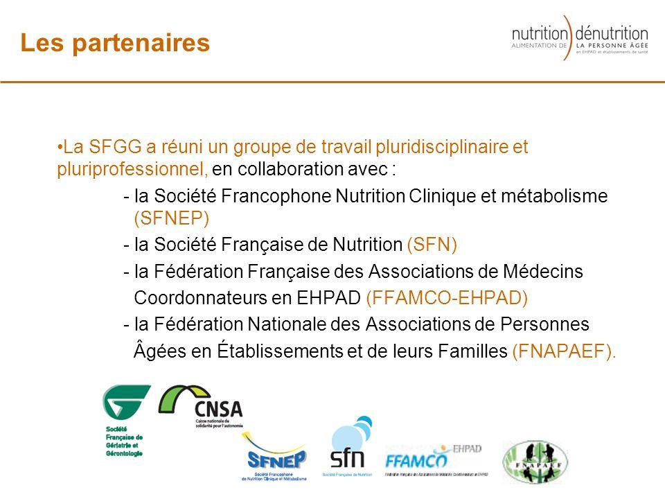 La SFGG a réuni un groupe de travail pluridisciplinaire et pluriprofessionnel, en collaboration avec : - la Société Francophone Nutrition Clinique et