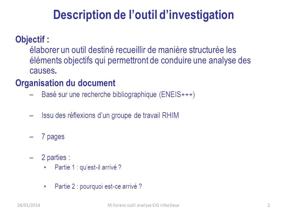 Description de loutil dinvestigation Objectif : élaborer un outil destiné recueillir de manière structurée les éléments objectifs qui permettront de c