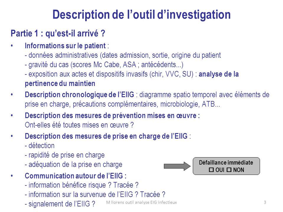 3 Description de loutil dinvestigation Partie 1 : quest-il arrivé ? Informations sur le patient : - données administratives (dates admission, sortie,
