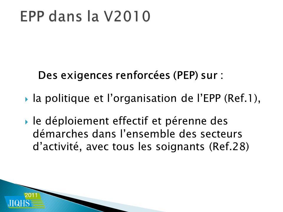 Des exigences renforcées (PEP) sur : la politique et lorganisation de lEPP (Ref.1), le déploiement effectif et pérenne des démarches dans lensemble des secteurs dactivité, avec tous les soignants (Ref.28)